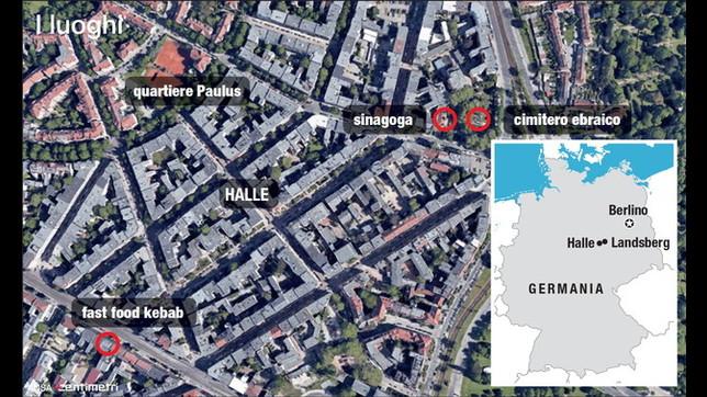 La mappa dei luoghi teatro dell'attacco in Germania