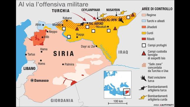 L'operazione militare della Turchia contro le forze curde nel nord-est della Siria