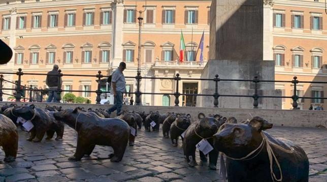 """Il flash mob degli orsi bruni marsicani a Roma: """"Garantiamo loro un futuro"""""""