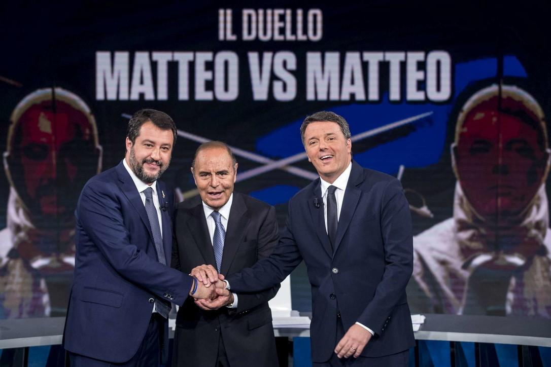 """Confronto tra Renzi e Salvini a """"Porta a Porta"""""""