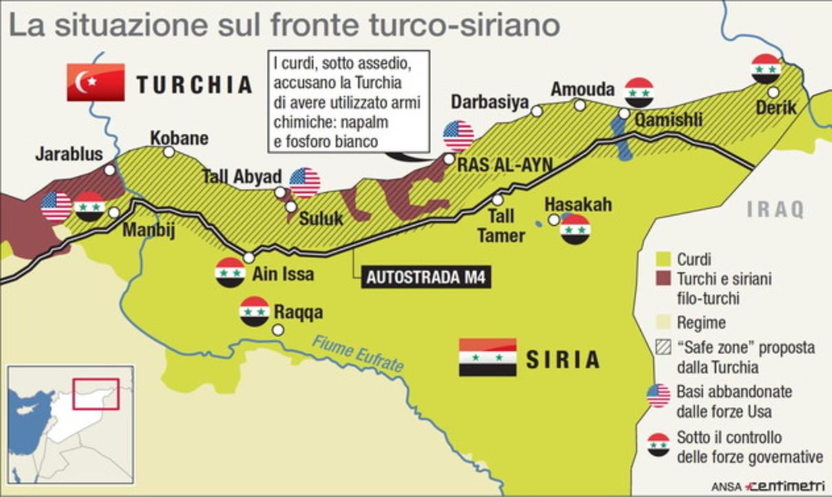 La mappa della situazione sul fronte turco-siriano