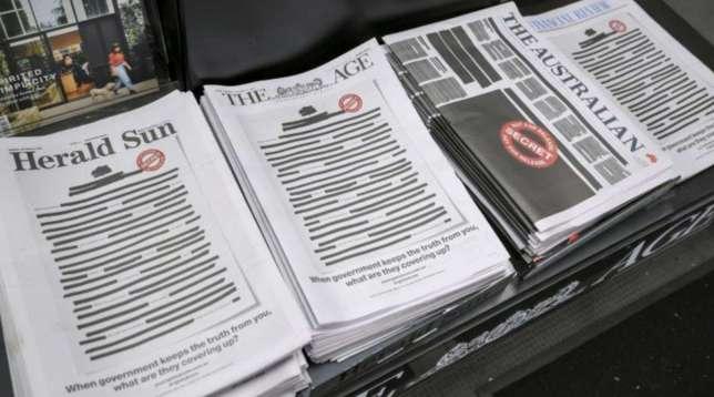 Australia, protesta per la libertà di stampa: i quotidiani si autocensurano