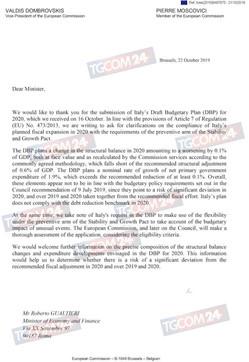 La lettera di Bruxelles all'Italia