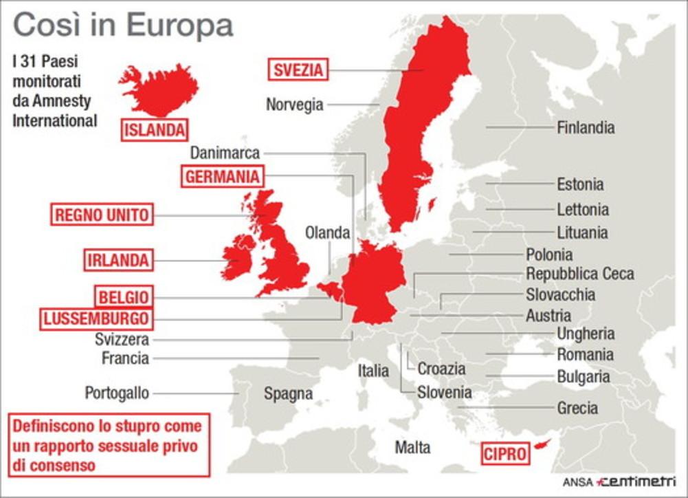 Ue, i Paesi in cuil'assenza di consenso equivale allo stupro