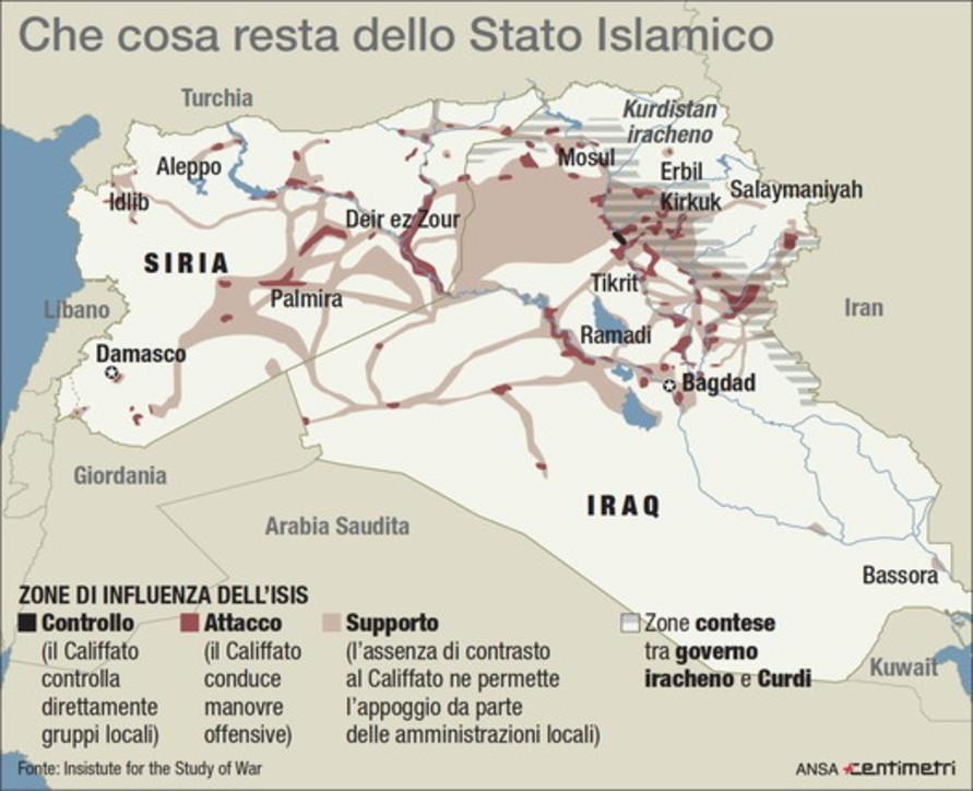 Isis, le aree di controllo tra Siria e Iraq