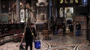 Acqua alta Venezia, Procuratoria: danni a mosaici e colonne S.Marco