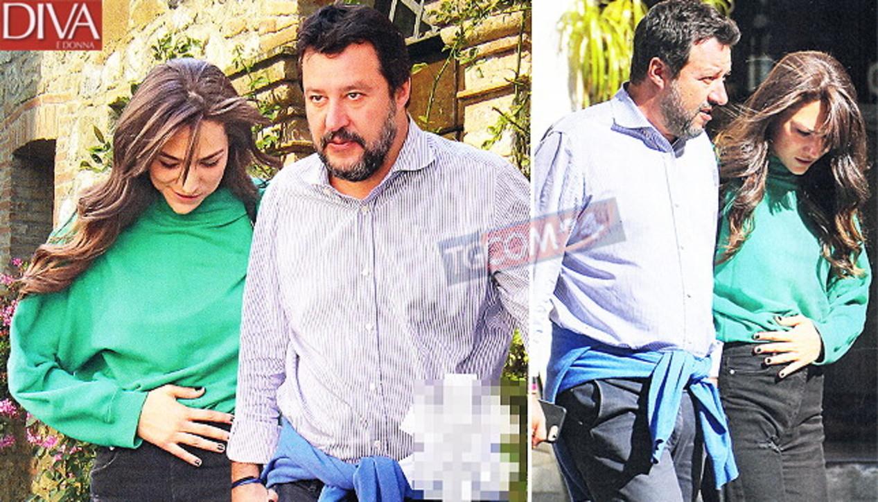 Matteo Salvini e Francesca Verdini a Roma, guarda le carezze sul pancino