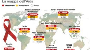 Aids, la mappa dell'epidemia continente per continente