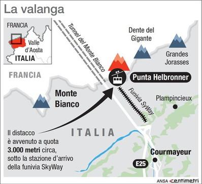 Valanga caduta sul Monte Bianco