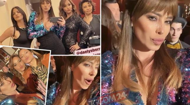 Per Aida Yespica scollatura scintillante e selfie in bagno con le amiche
