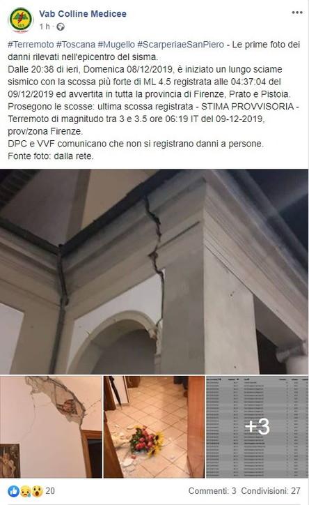 Firenze, terremoto nel Mugello: le prime foto dalla Rete
