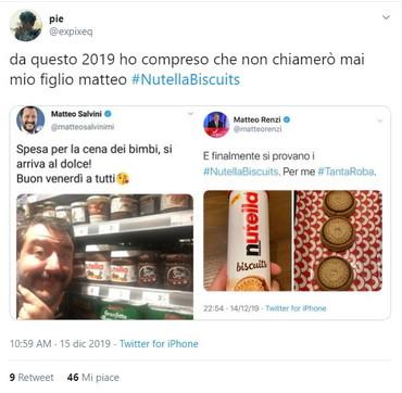 E anche l'altro Matteo scivola... sulla Nutella: Renzi prova i biscotti e scattano i meme con Salvini