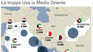 Medio Oriente, come sono dislocate le truppe Usa
