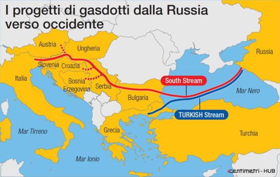 I gasdotti di Putin in arrivo verso l'Europa