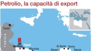La capacità di esportazione di petrolio dalla Libia
