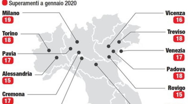 Smog: Frosinone, Milano, Padova, Torino e Treviso, l'aria peggiore di gennaioMappa dell'inquinamento