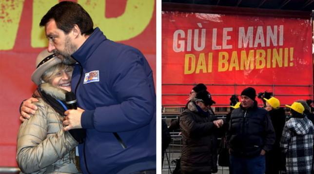 Sardine-Salvini, a Bibbiano è scontro tra piazze | Santori: