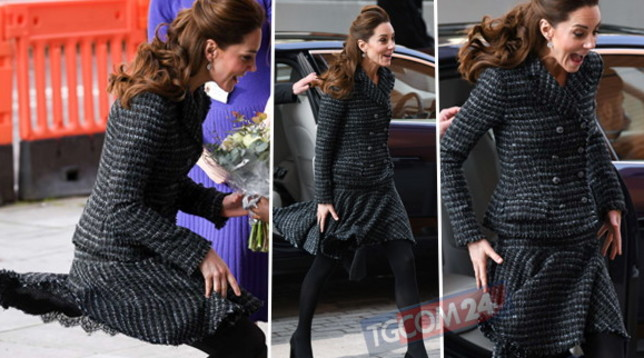 Incidente sexy per Kate Middleton, guarda che gonna birichina