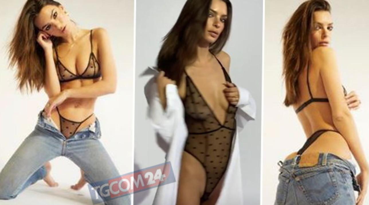 Emily Ratajkowski da censura con l'intimo trasparente
