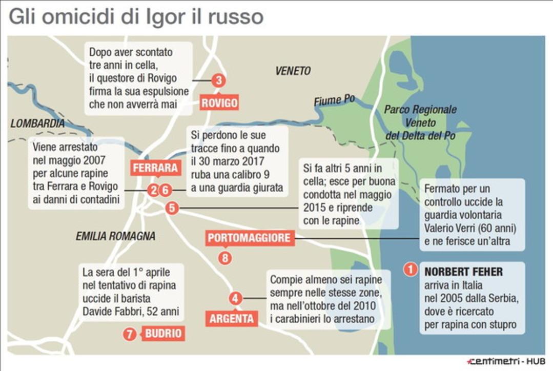 Igor il Russo condannato in Spagna: la mappa degli omicidi in Italia