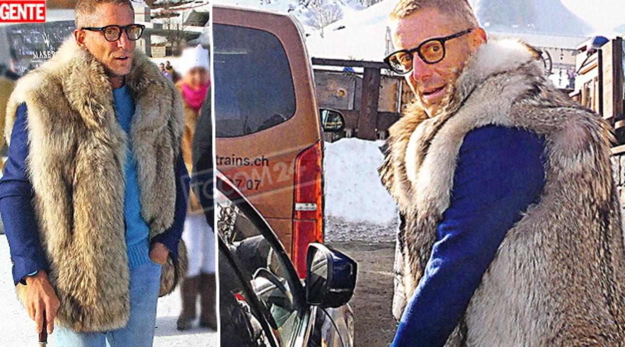 Lapo Elkann col bastone sulla neve come nonno Gianni
