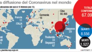 La diffusione del coronavirus nel mondo