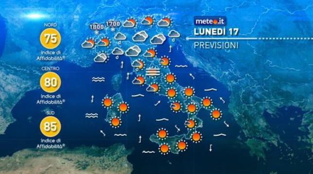 Qualche pioggia al Nord, caldo anomalo al Centrosud
