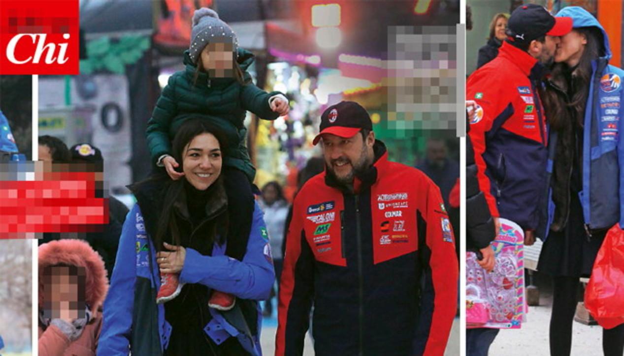 Matteo Salvini va alle giostre con Francesca e la figlia
