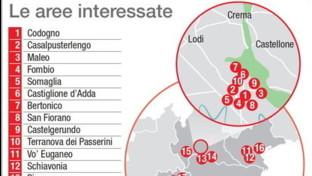 I focolai di coronavirus nel Nord Italia