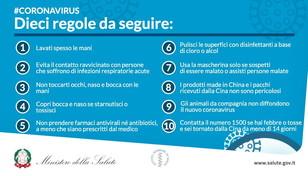 Coronavirus, le dieci regole del ministero della Salute