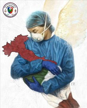 Coronavirus, l'omaggio dei carabinieri a medici e infermieri: il disegno della dottoressa che tiene in braccio l'Italia ferita