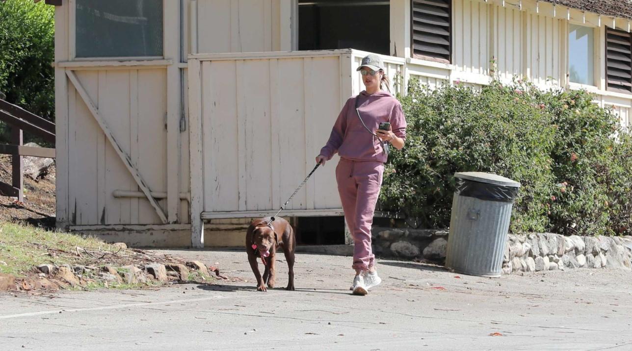 Alessandra Ambrosio a passeggio col cane a Los Angeles