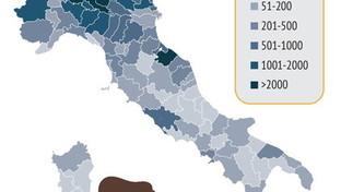 Coronavirus, la mappa dell'Isssul numero di casi per provincia