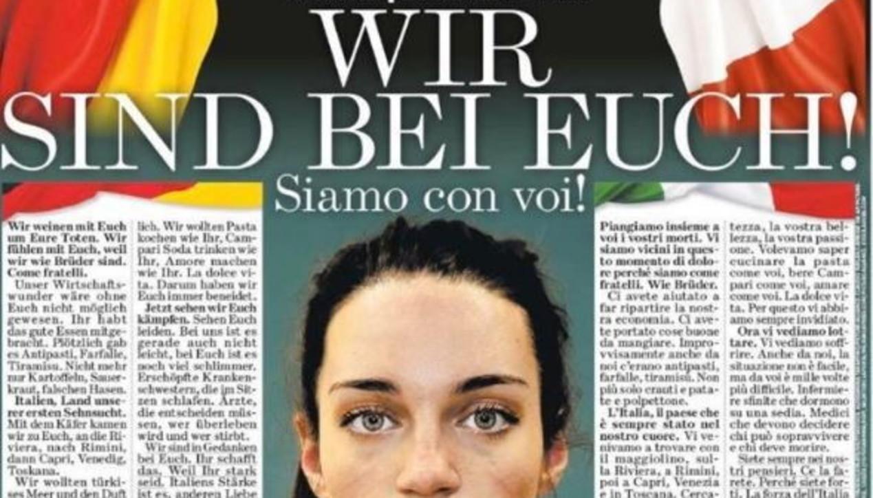 """Coronavirus, la """"Bild"""" scrive una lettera all'Italia: """"Siamo con voi"""""""