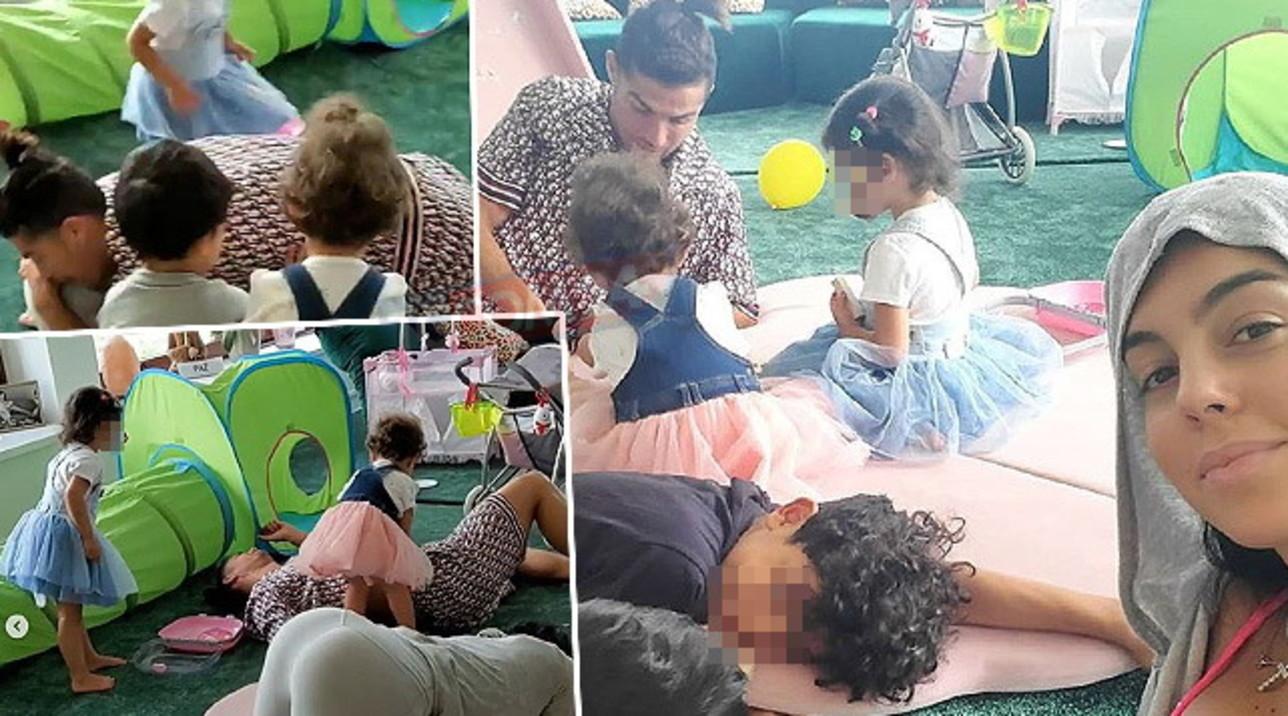 Per Georgina e Ronaldo giochi d'amore, guarda i siparietti in famiglia