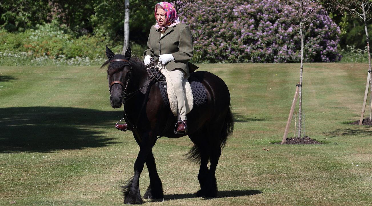 La Regina Elisabetta torna in sella: eccola in groppa a un pony in lockdown