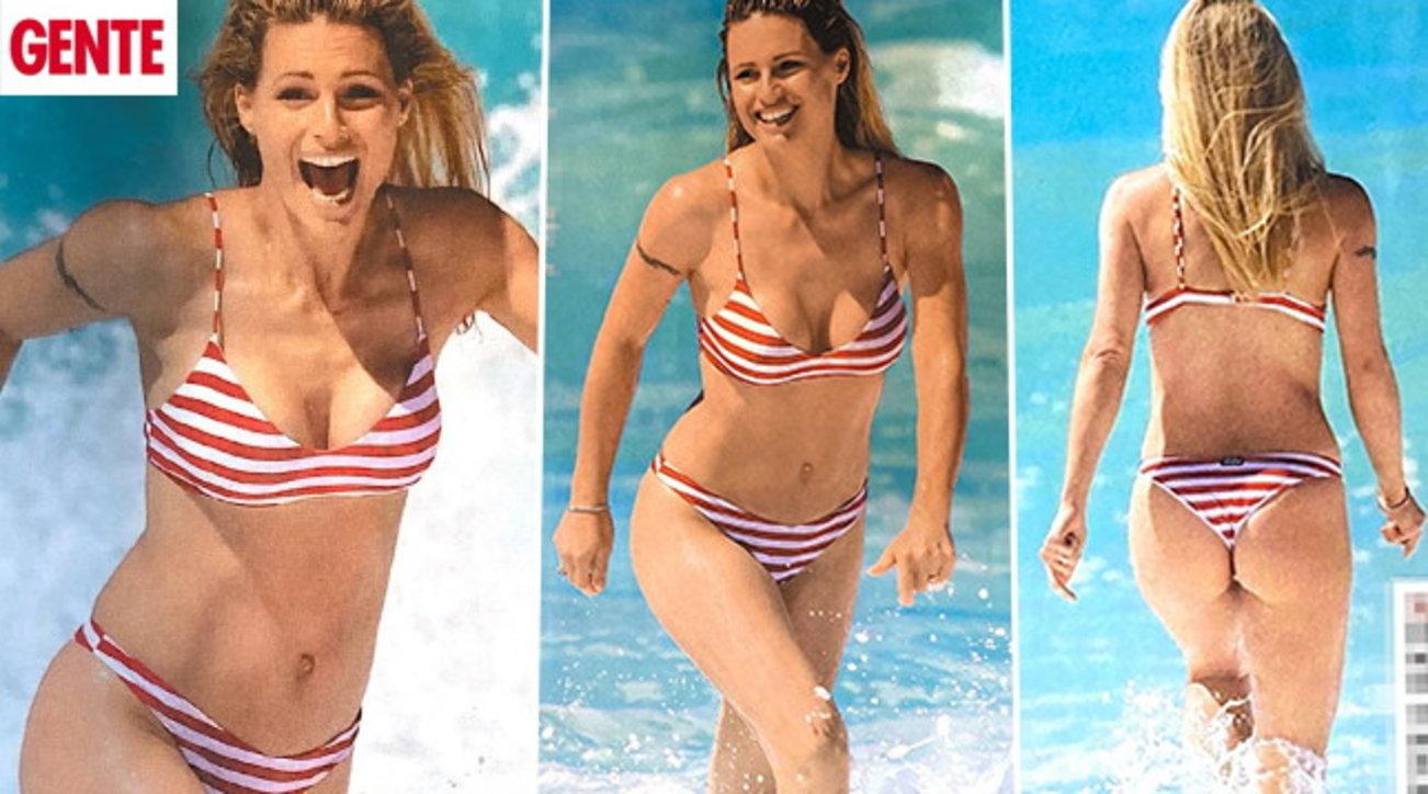 Michelle Hunziker in bikini inaugura la sua estate italiana