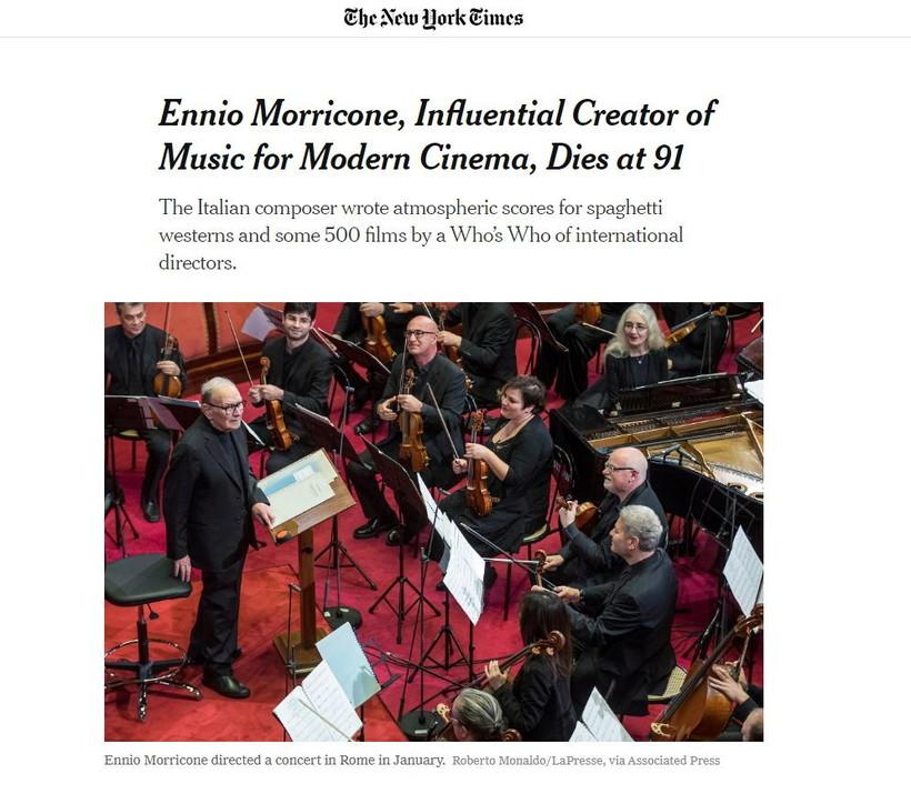 """Dal """"New York Times"""" a """"El Pais"""", i siti più importanti del mondocelebrano Ennio Morricone"""