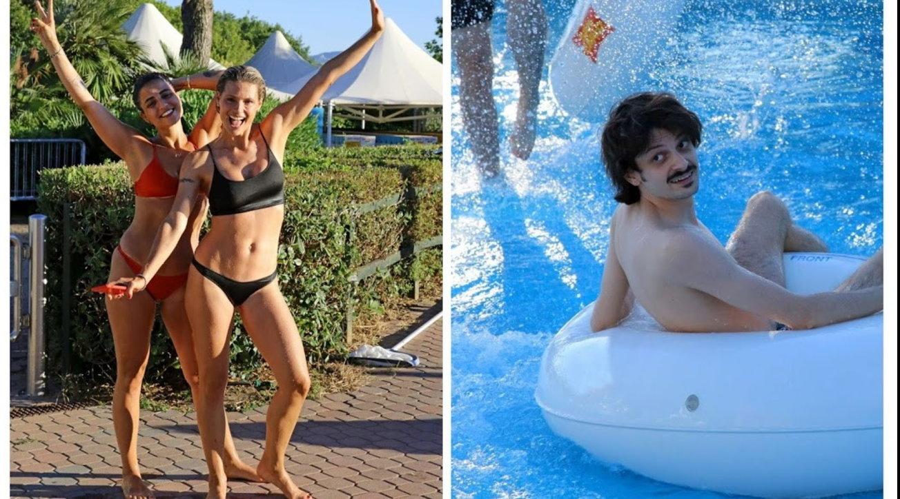 Hunziker e Rovazzi, che gruppo vacanze sugli scivoli a Riccione!