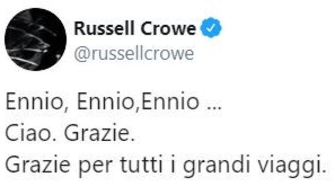 Hollywood rende omaggio al Maestro e Russel Crowe scrive in italiano:
