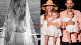 Fiammetta Cicogna battezza le gemelle vestita da sposa