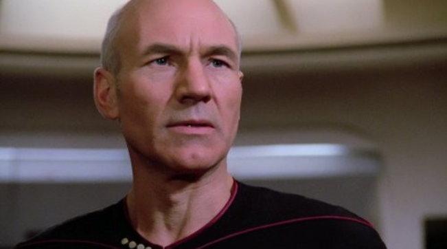 Patrick Stewart nei panni del capitano Picard