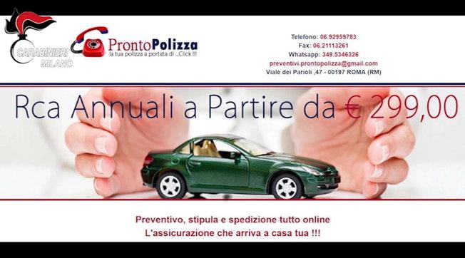 Polizze auto false vendute sul web, 10 arresti e 30mila truffati