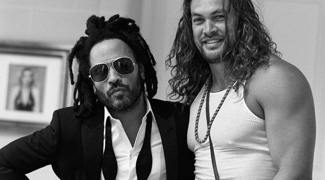 Lenny Kravitz e Jason Momoa insieme, gli uomini di Lisa Bonet infiammano i social