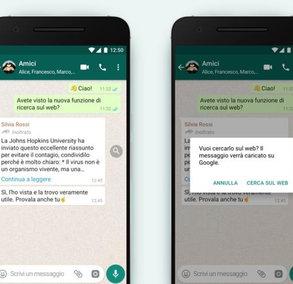 WhatsApp, arriva la funzione che permette di verificare se i messaggi inoltrati sono fake news
