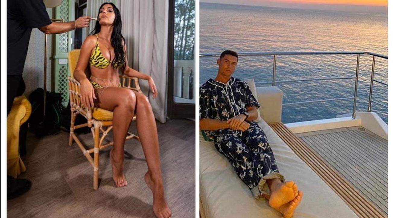 Ronaldo si rilassa in pigiama, ma Georgina in bikini manda in tilt tutti