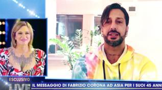 """Il videomessaggio di Fabrizio Corona per Asia Argento: """"Se ci rincontreremo ti farò vedere di nuovo le stelle"""""""