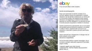 """Beppe Grillo mette in vendita la """"pietra pomice per pulire la stupidità"""": eBay gli cancella l'account"""
