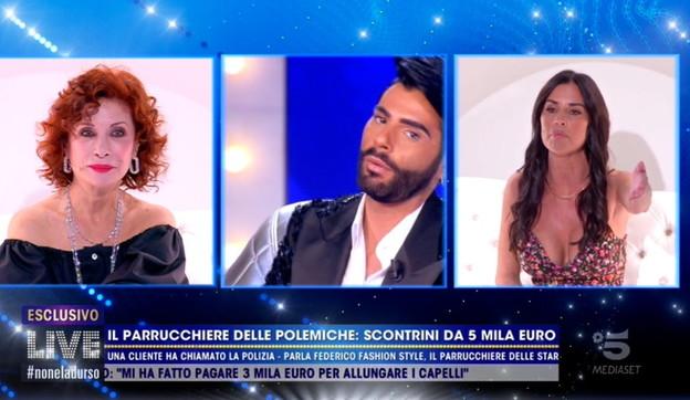 """Antonella Mosetti contro Federico Fashion Style: """"Mi hai fatto cadere i capelli""""   Lui replica: """"Non pagavi"""""""