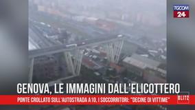 Ponte crollato a Genova: le immagini dall'elicottero